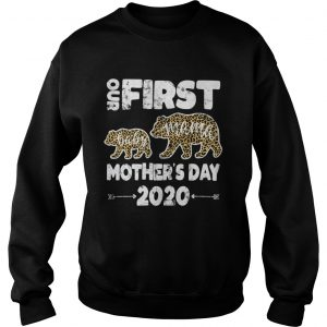 First mothers day mom baby bear Leopard Plaid new mom  Sweatshirt