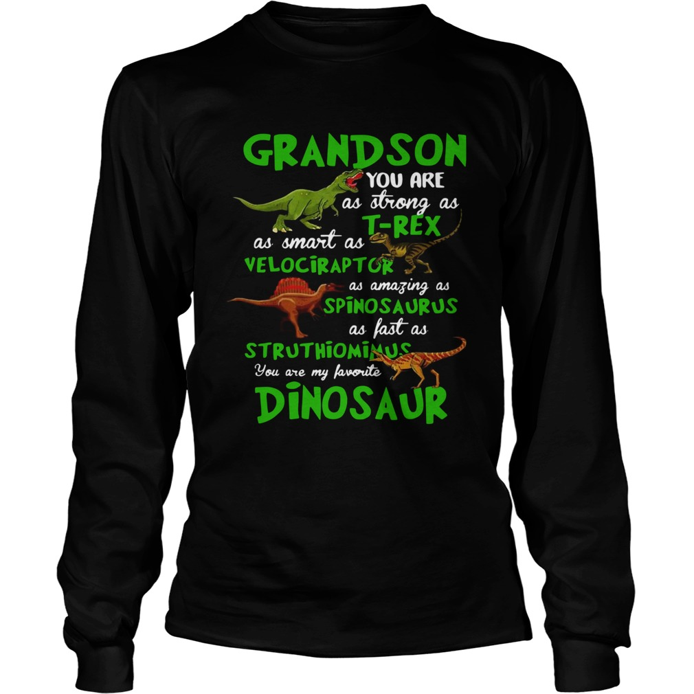 Grandson You Are As Strong As Trex As Smart As Velociraptor As Amazing As Spinosaurus Dinosaur shi Long Sleeve