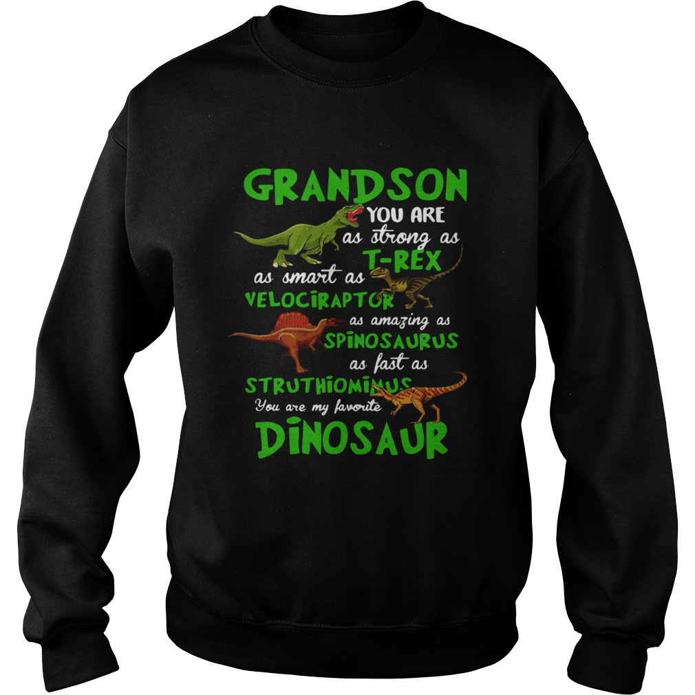 Grandson You Are As Strong As Trex As Smart As Velociraptor As Amazing As Spinosaurus Dinosaur shi Sweatshirt