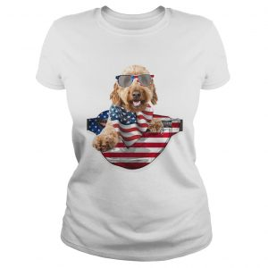 Goldendoodle waist pack american flag independence day  Classic Ladies