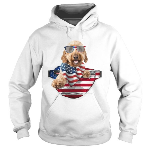 Goldendoodle waist pack american flag independence day  Hoodie