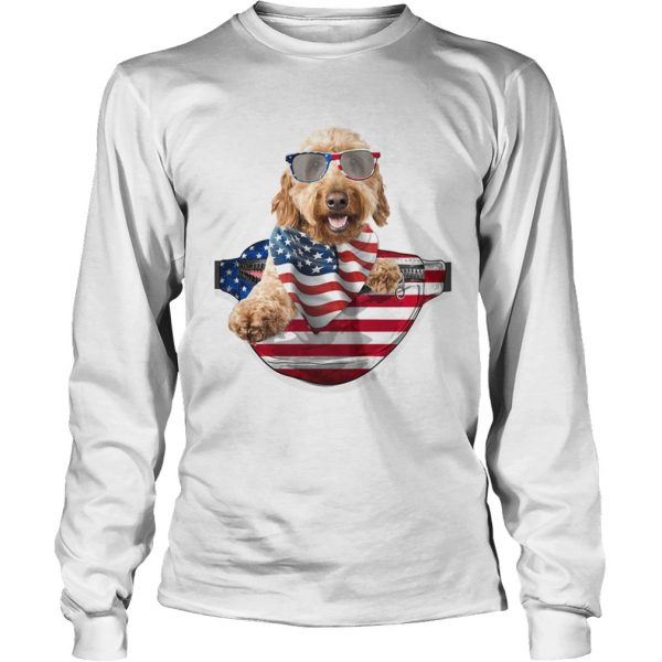 Goldendoodle waist pack american flag independence day  Long Sleeve