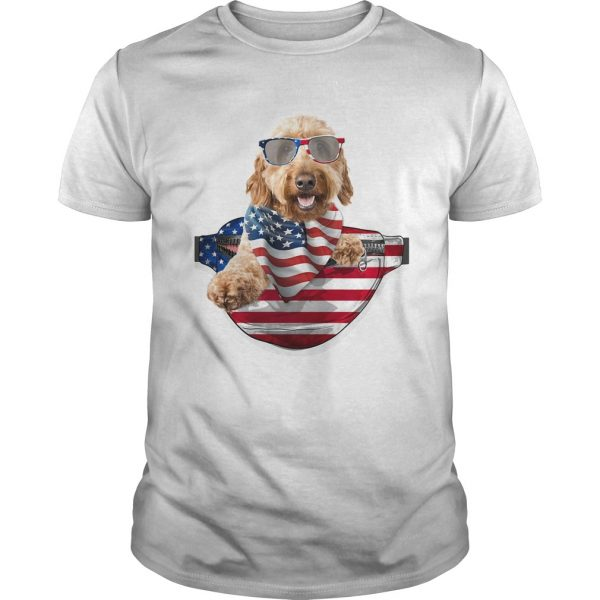 Goldendoodle waist pack american flag independence day  Unisex