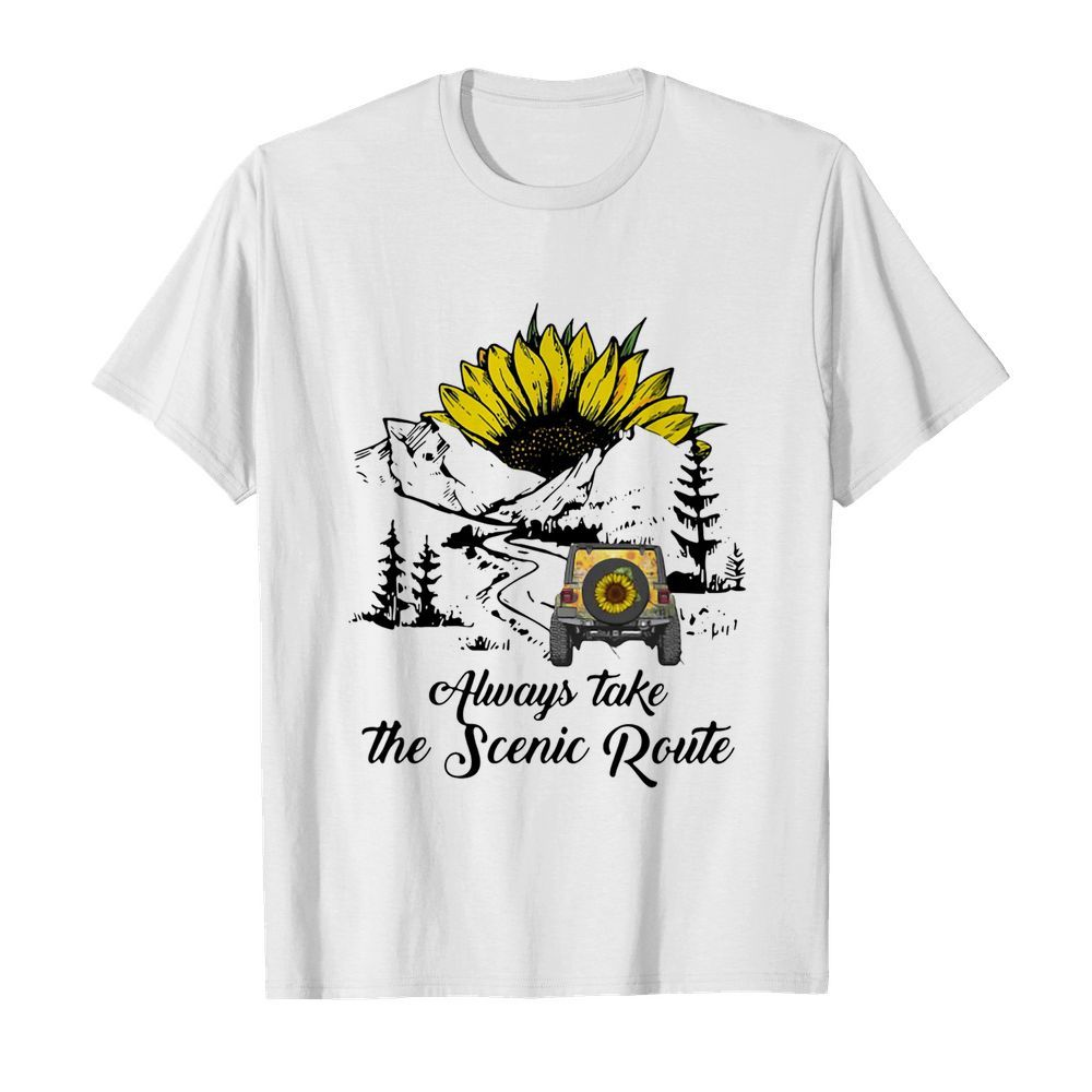 Jeep Sunflower Alway Take The Scenic Route  Classic Men's T-shirt