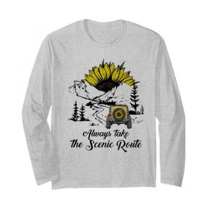 Jeep Sunflower Alway Take The Scenic Route  Long Sleeved T-shirt