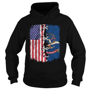 North Dakota And American Flag Independence Day  Hoodie