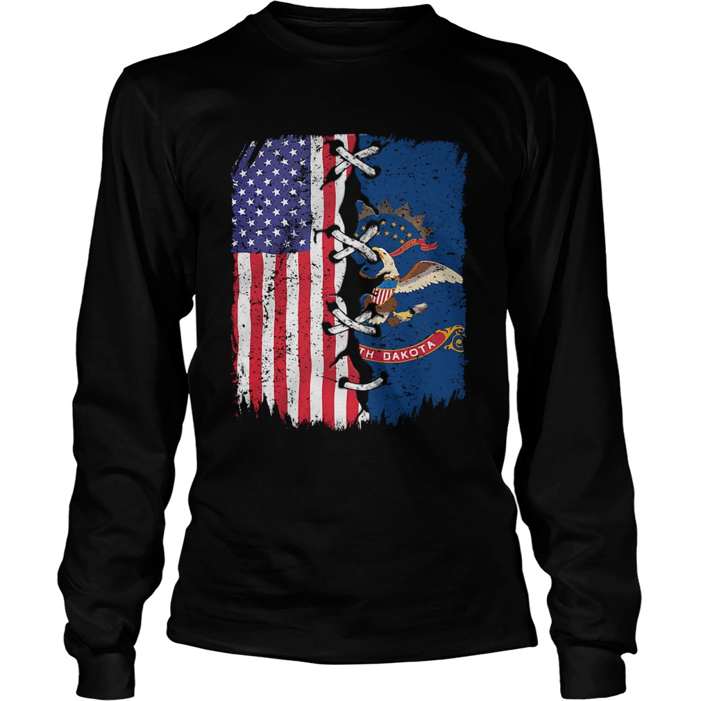 North Dakota And American Flag Independence Day  Long Sleeve