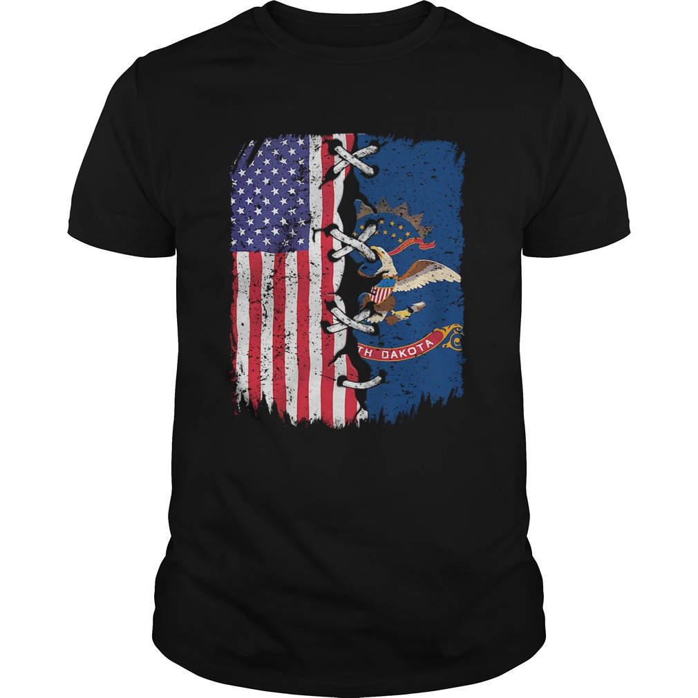 North Dakota And American Flag Independence Day  Unisex