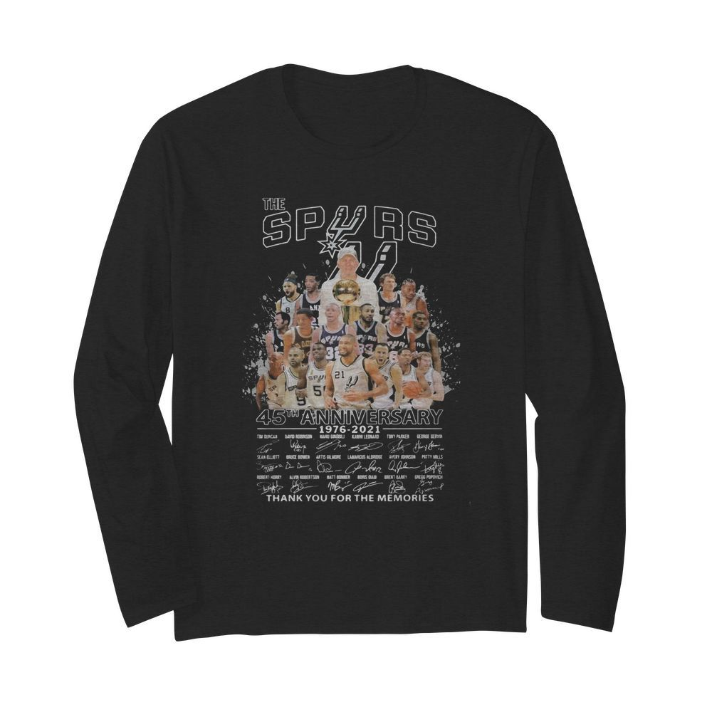 The san antonio spurs 45th anniversary 1976 2021 thank you for the memories signatures  Long Sleeved T-shirt