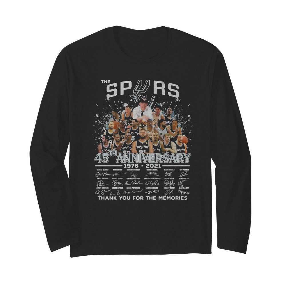 The san antonio spurs basketball team 45th anniversary 1976 2021 thank you for the memories signatures  Long Sleeved T-shirt