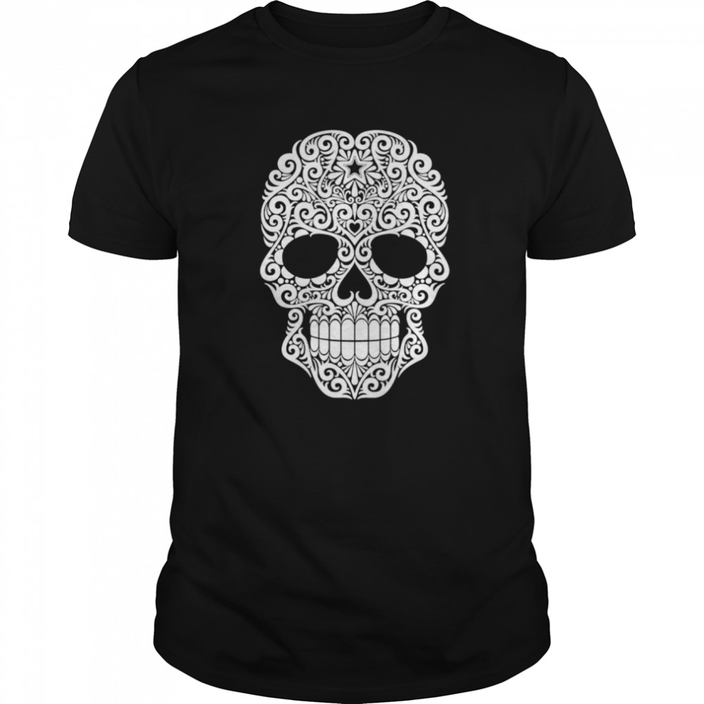 White Swirling Lines Sugar Skull Day Dead  Classic Men's T-shirt