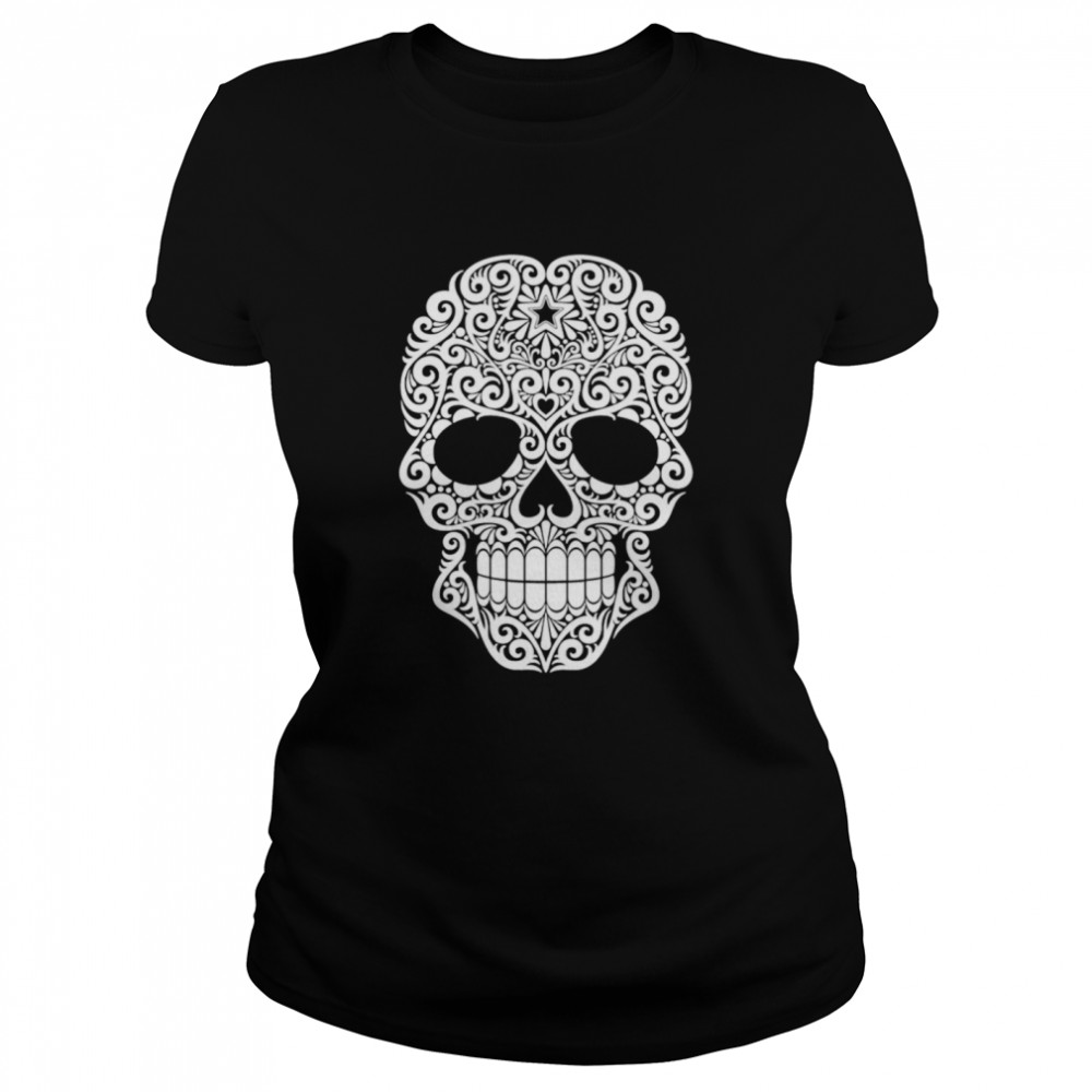 White Swirling Lines Sugar Skull Day Dead  Classic Women's T-shirt