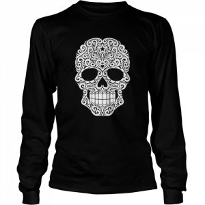 White Swirling Lines Sugar Skull Day Dead  Long Sleeved T-shirt