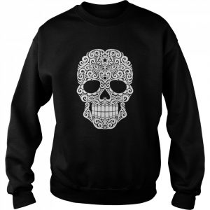 White Swirling Lines Sugar Skull Day Dead  Unisex Sweatshirt