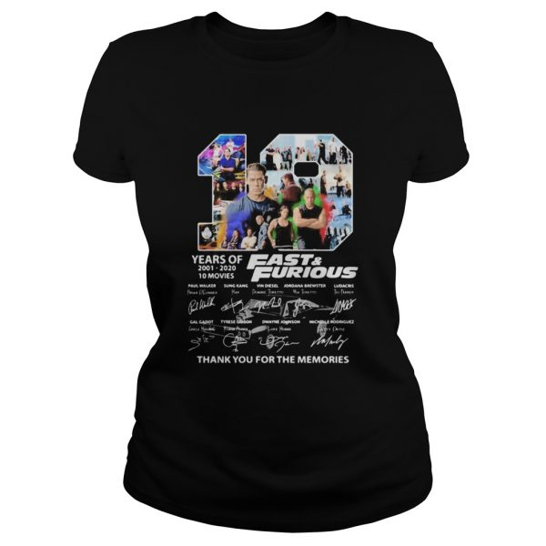 19 years of 20012020 Fast and Furious 10 movies signature  Classic Ladies
