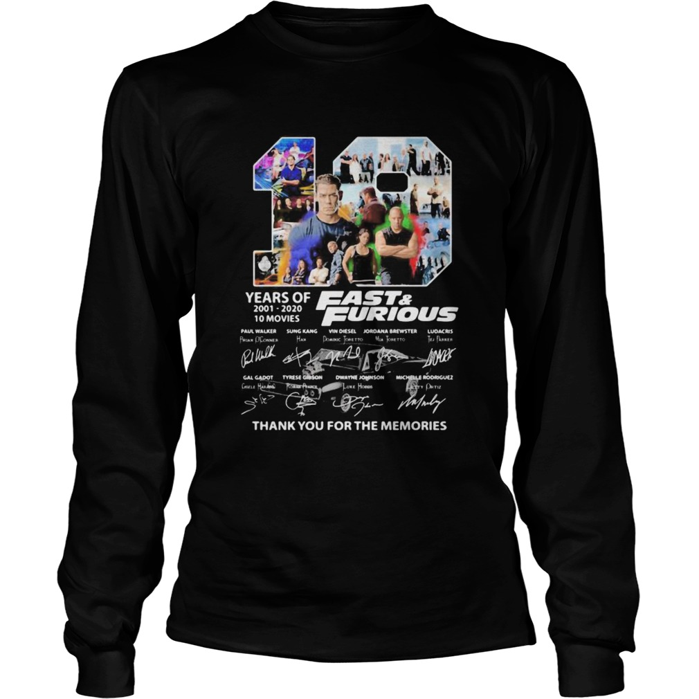 19 years of 20012020 Fast and Furious 10 movies signature  Long Sleeve