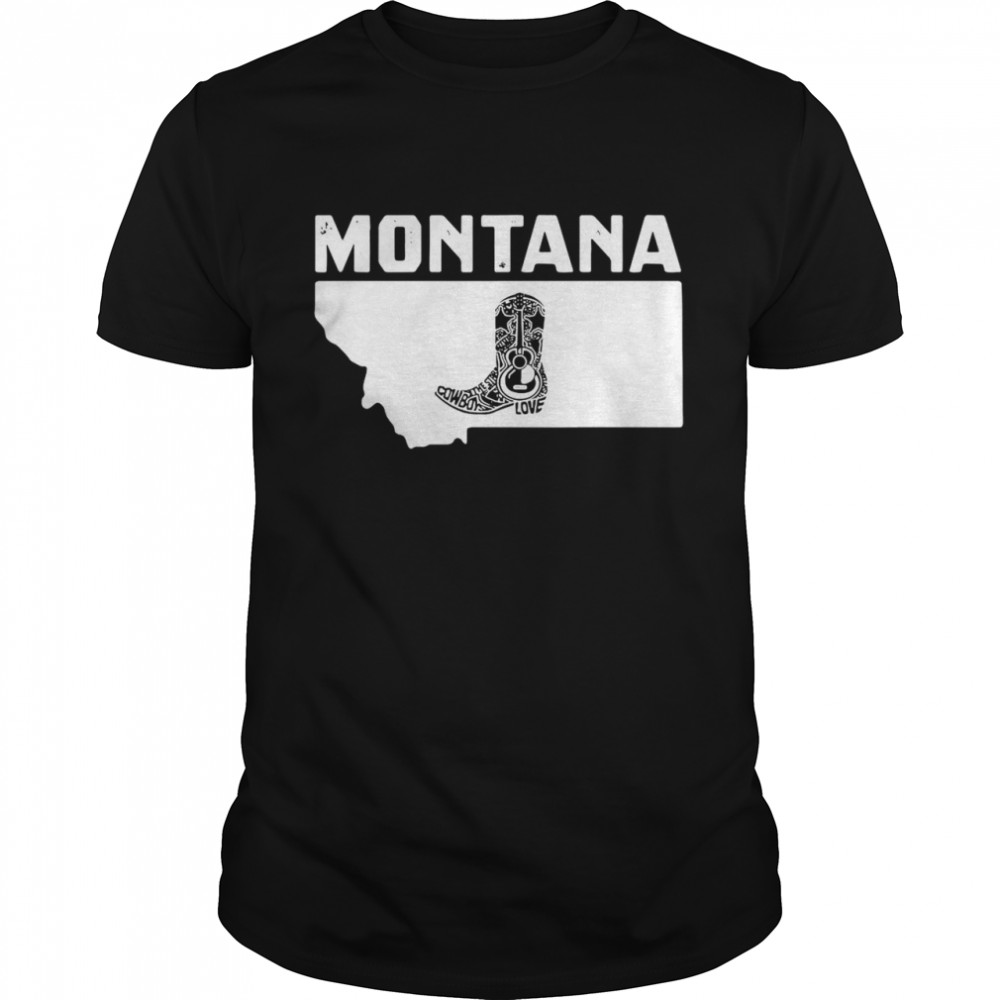 Montana Cowboy Boot Text Rodeo Ranch  Classic Men's T-shirt