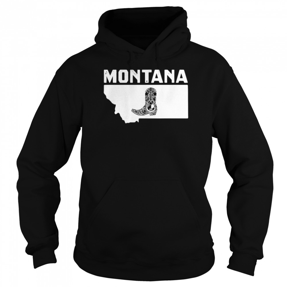Montana Cowboy Boot Text Rodeo Ranch  Unisex Hoodie