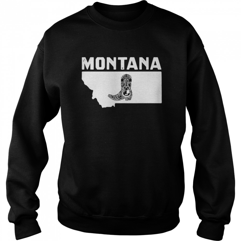 Montana Cowboy Boot Text Rodeo Ranch  Unisex Sweatshirt